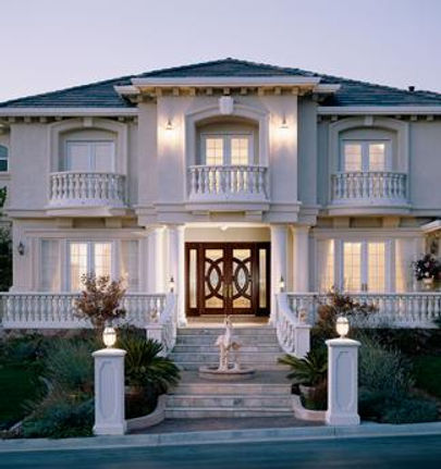 residential wood double doors with two side lites.