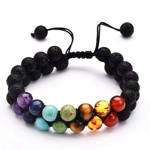7 Chakra and Lava Stone Double Braided Bracelet