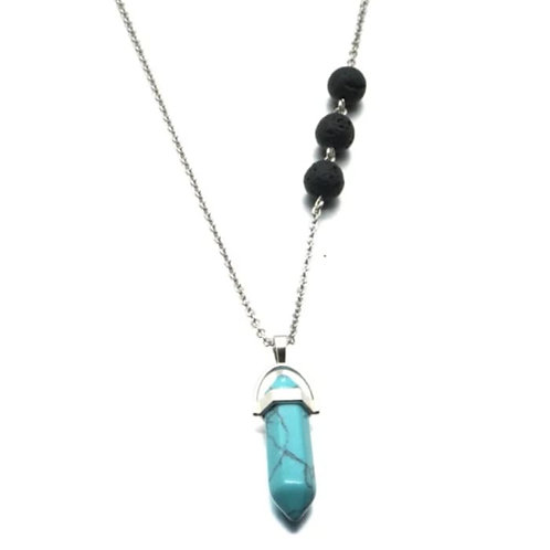 Turquoise Crystal Lava Stone Necklace