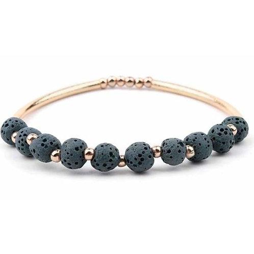 Lava Stone Essential Oil Bracelet - Dark Green Lava Stone and Gold