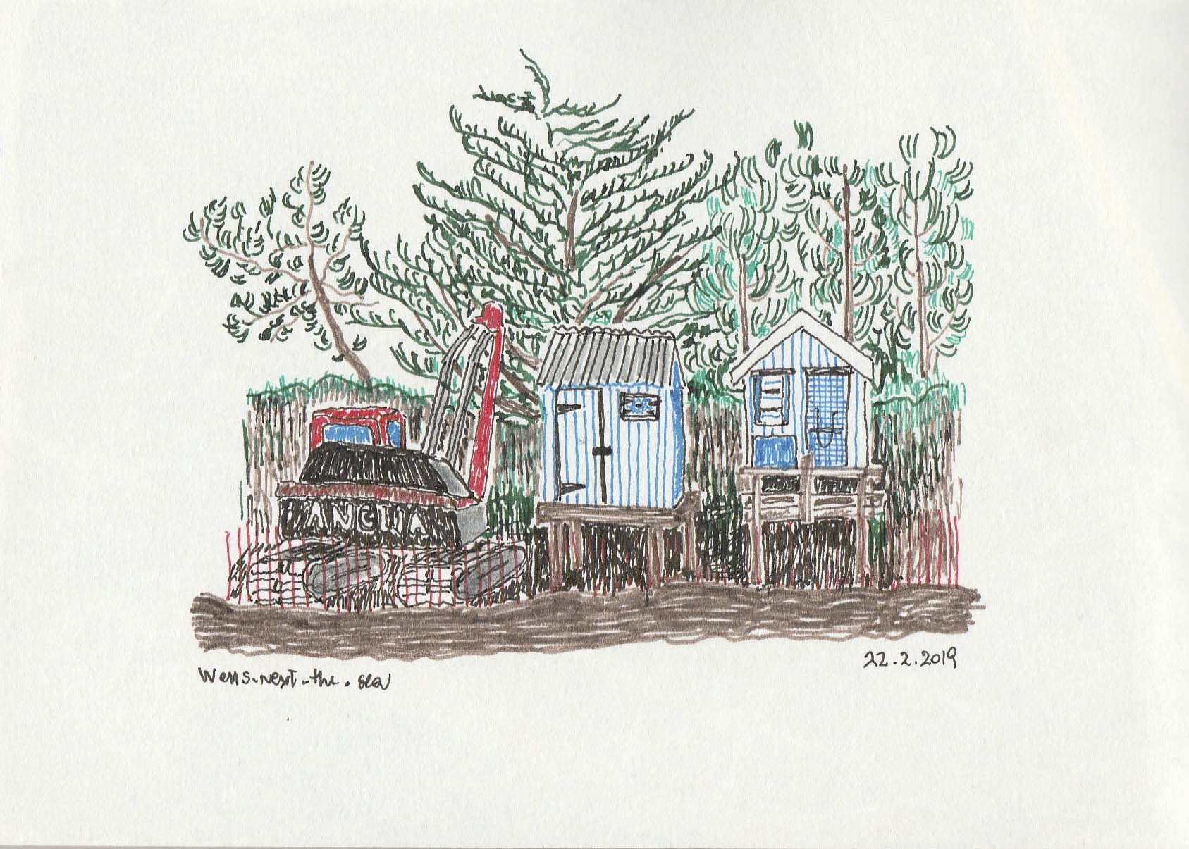 Two beach huts & tractor