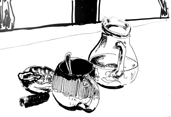 still life with a water jug, cup of coffee, ashtray and lighter