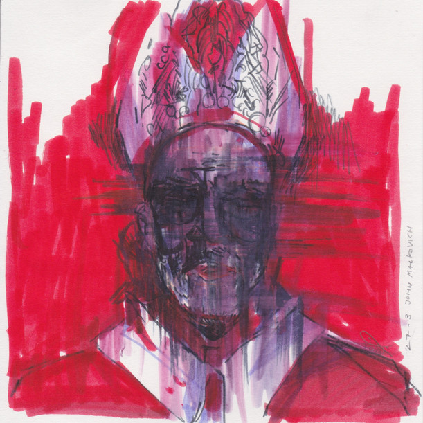 john malkovich as the new pope, after francis bacon's study of pope innocent x by velazquez