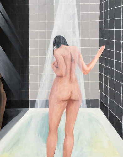 Shower scene, after Hockney