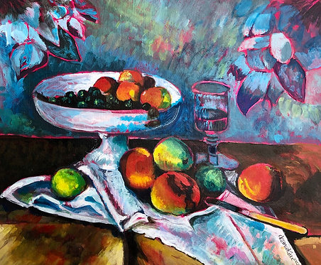 Homage to Cezanne's Still life with fruit bowl