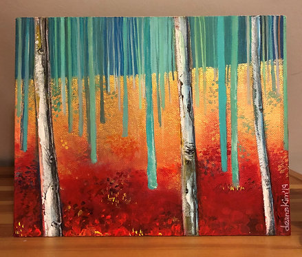 Silver Birches turquoise & red (small canvas)