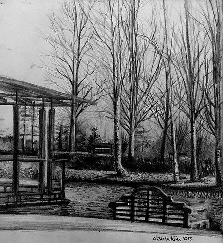 Print - Fanhams 'Pond and Bench'