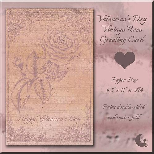 Valentine's Day Vintage Rose Greeting Card