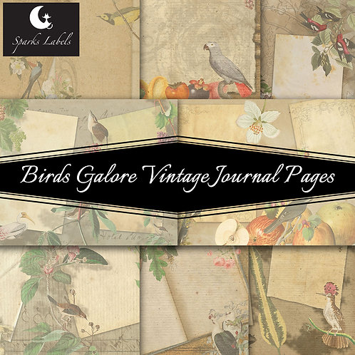 Birds Galore Vintage Journal Pages