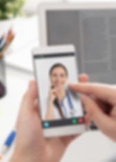 Doctor with a stethoscope on the smartph
