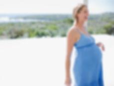 moderskap blå klänning