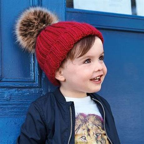 Infants Fur PomPom chunky knit beanie