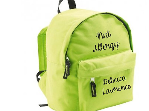 Children's allergy alert personalized backpack