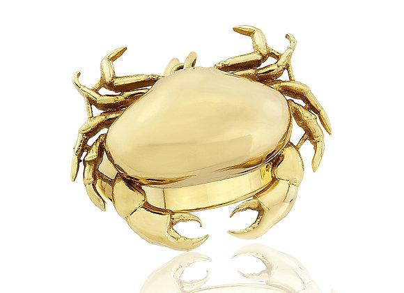 GOLD CRAB LOCKET RING
