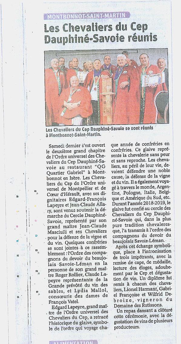 2ème grand chapitre des Chevaliers du Cep Dauphiné Savoie
