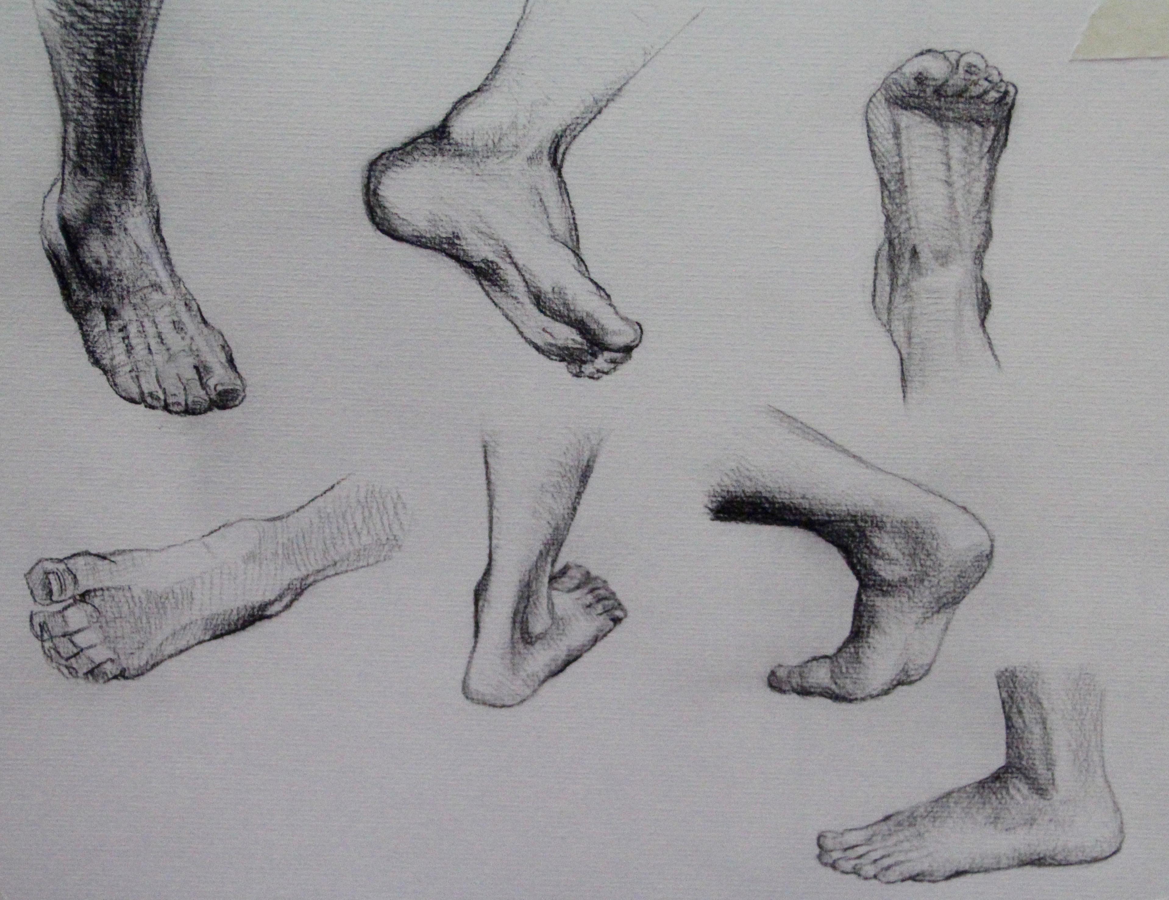 Charcoal foot studies