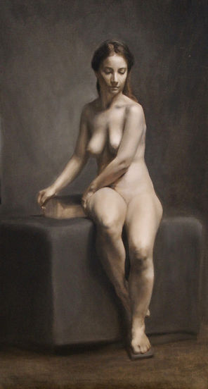 Sarah Hardy Art, Gamilla - Oil on linen 50 x 90cm - Grisaille, Florence 2017.
