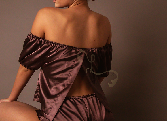 "Lingerie Lashes® | ""Allie"" Satin Pajama Set"