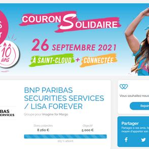 LISA FOREVER AVEC BNP PARIBAS SECURITIES SERVICES SUR LA COURSE ENFANTS SANS CANCER DU 26/09/21