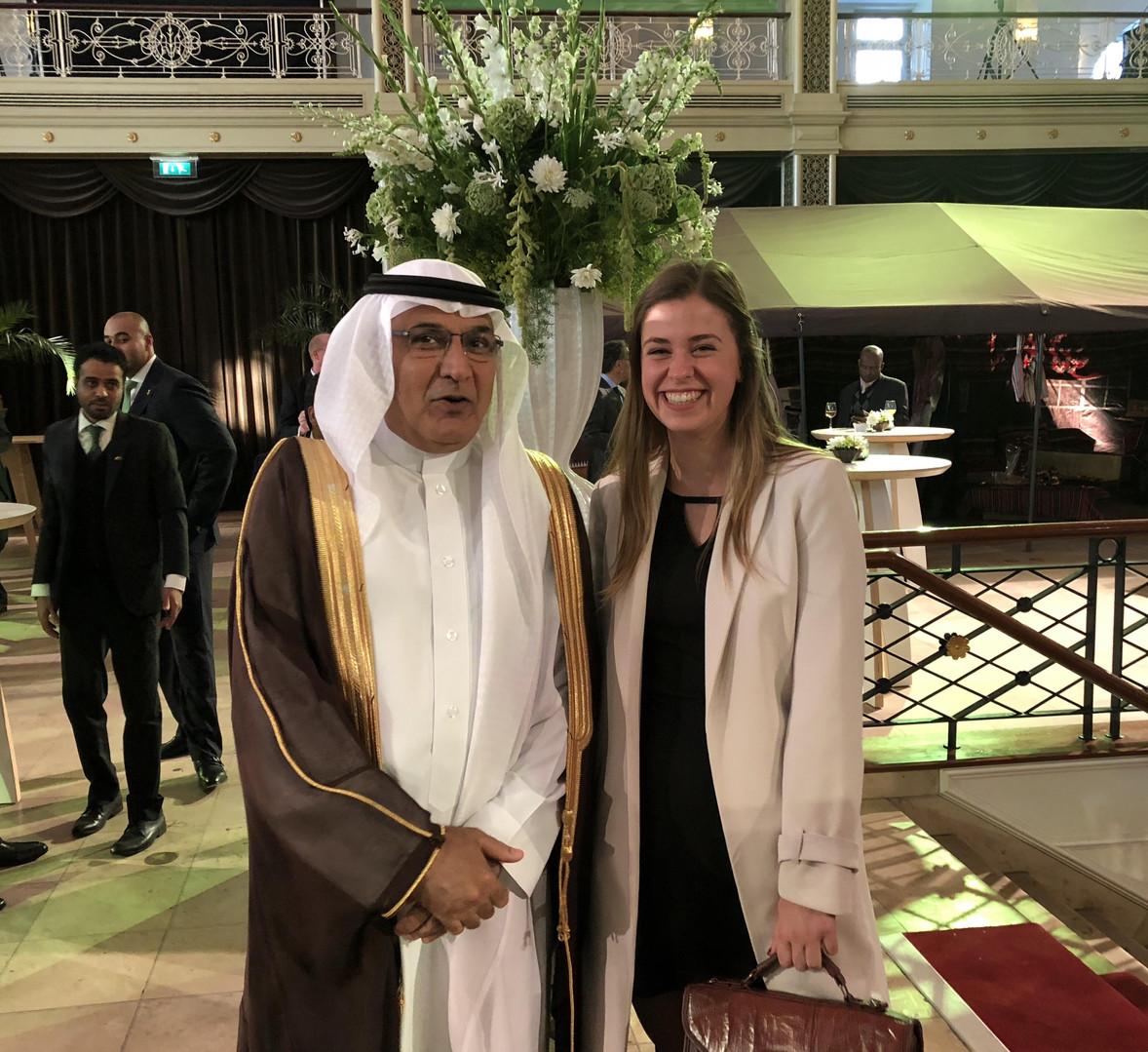 H.E. Abdulaziz Abdullah Abdulaziz Abohaimed ambassador of Saudi Arabia to the Netherlands together with Stefi Gubbels at the Kurhaus in The Hague