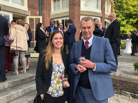 H.E. Mr Alexander Vasilievich Shulgin, Ambassador of the Russian Federation to The Netherlands and Stefi Gubbels of Frank Creations at the Brazilian Residence in Wassenaar during the celebration of the national day of Brazil