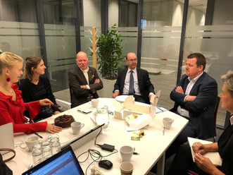 Delegations of the World Trade Center Eindhoven, Getlinc., the Government of Flanders and Frank Creations during a brainstorming in The Hague about international business opportunities