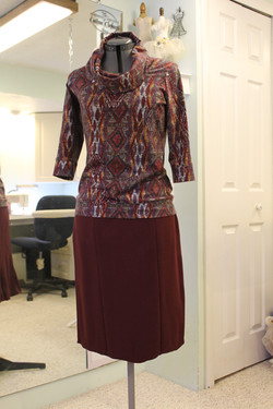 Career knit top and skirt