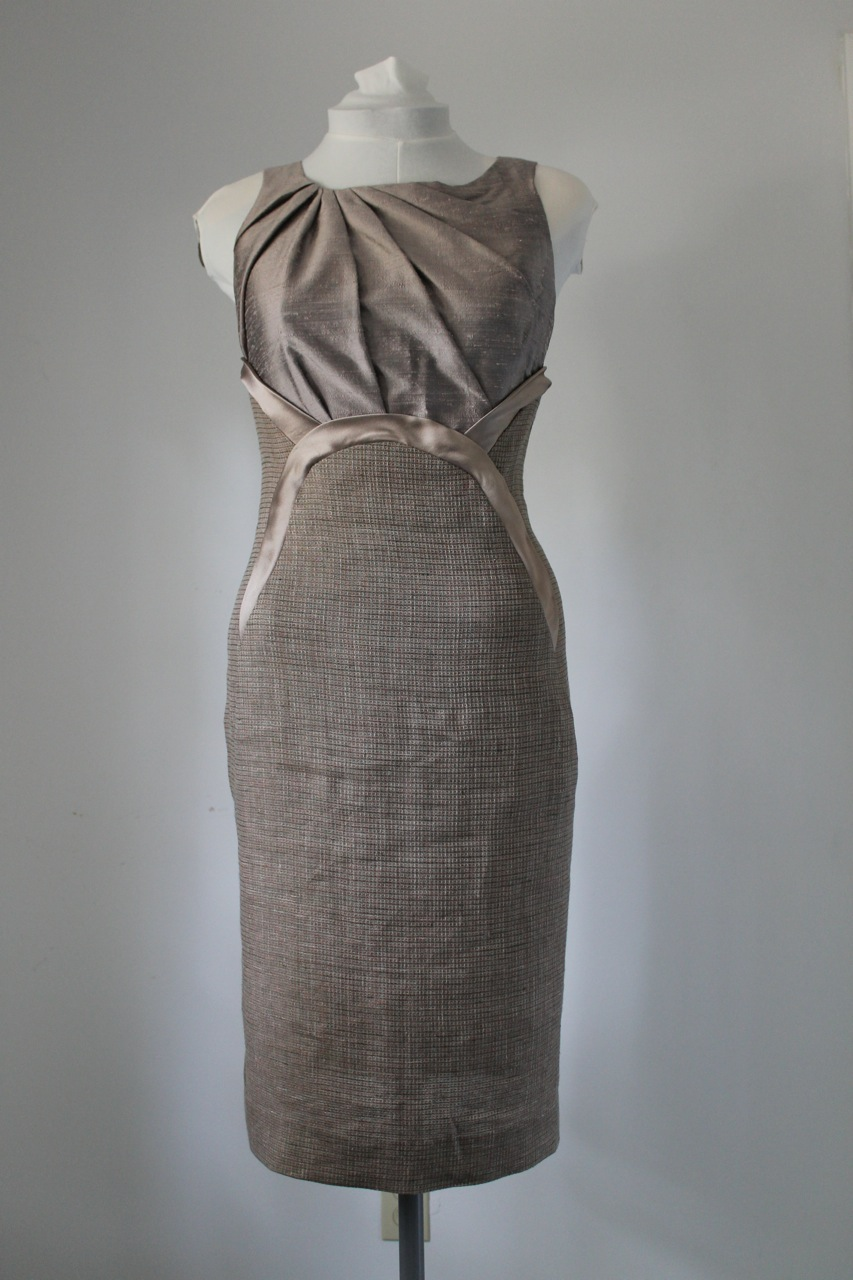 Dupioni silk and tweed sheath dress