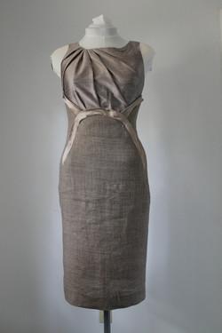 Dupioni silk and tweed sheath dress