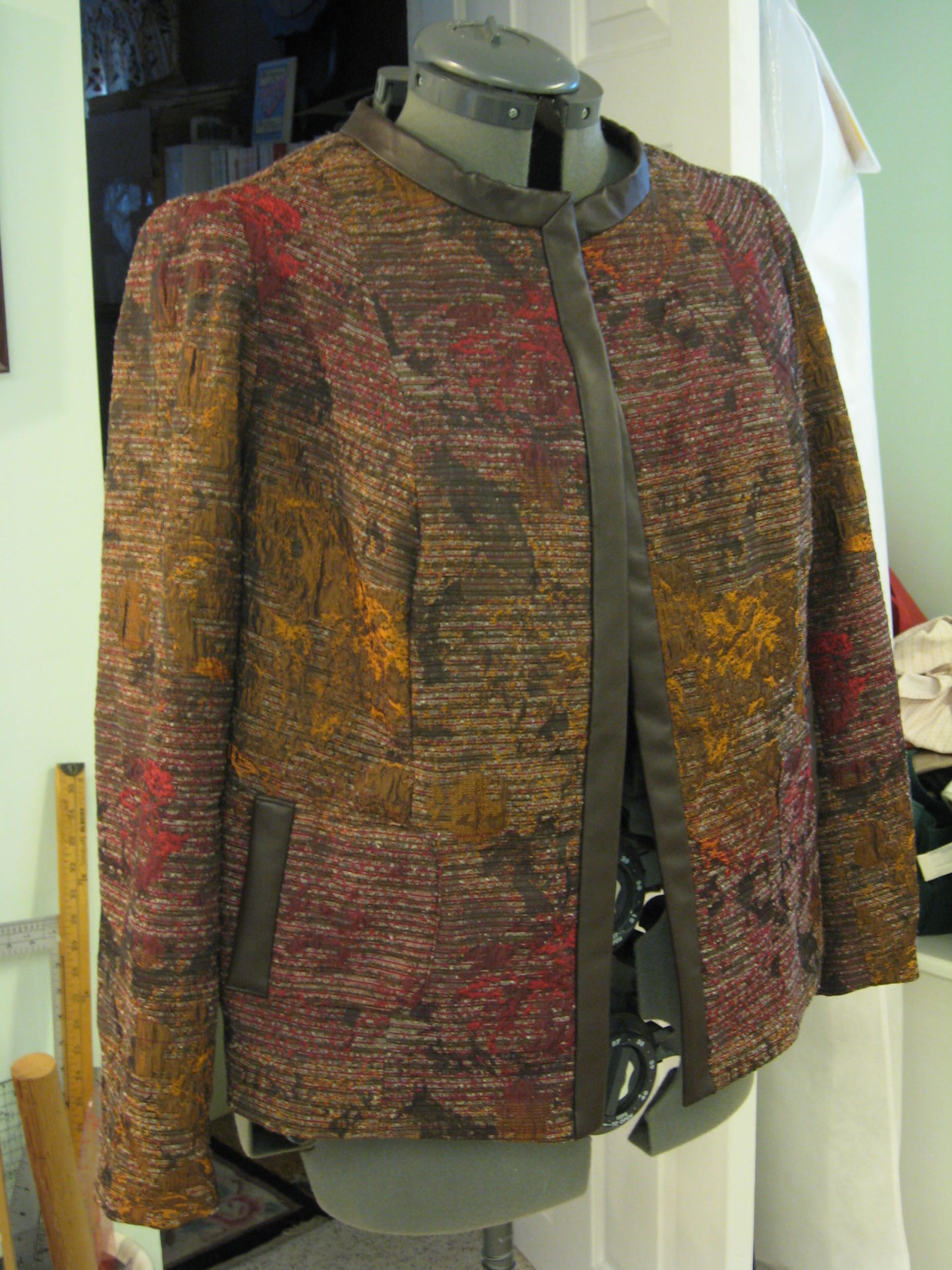 Brocade jacket, leather trim