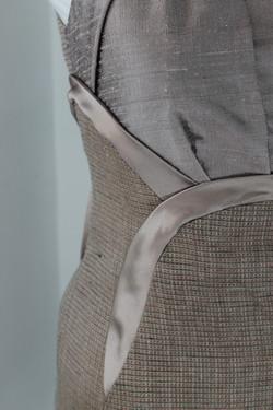 Dupioni silk and tweed dress