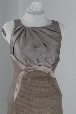 Dupioni and tweed sheath dress