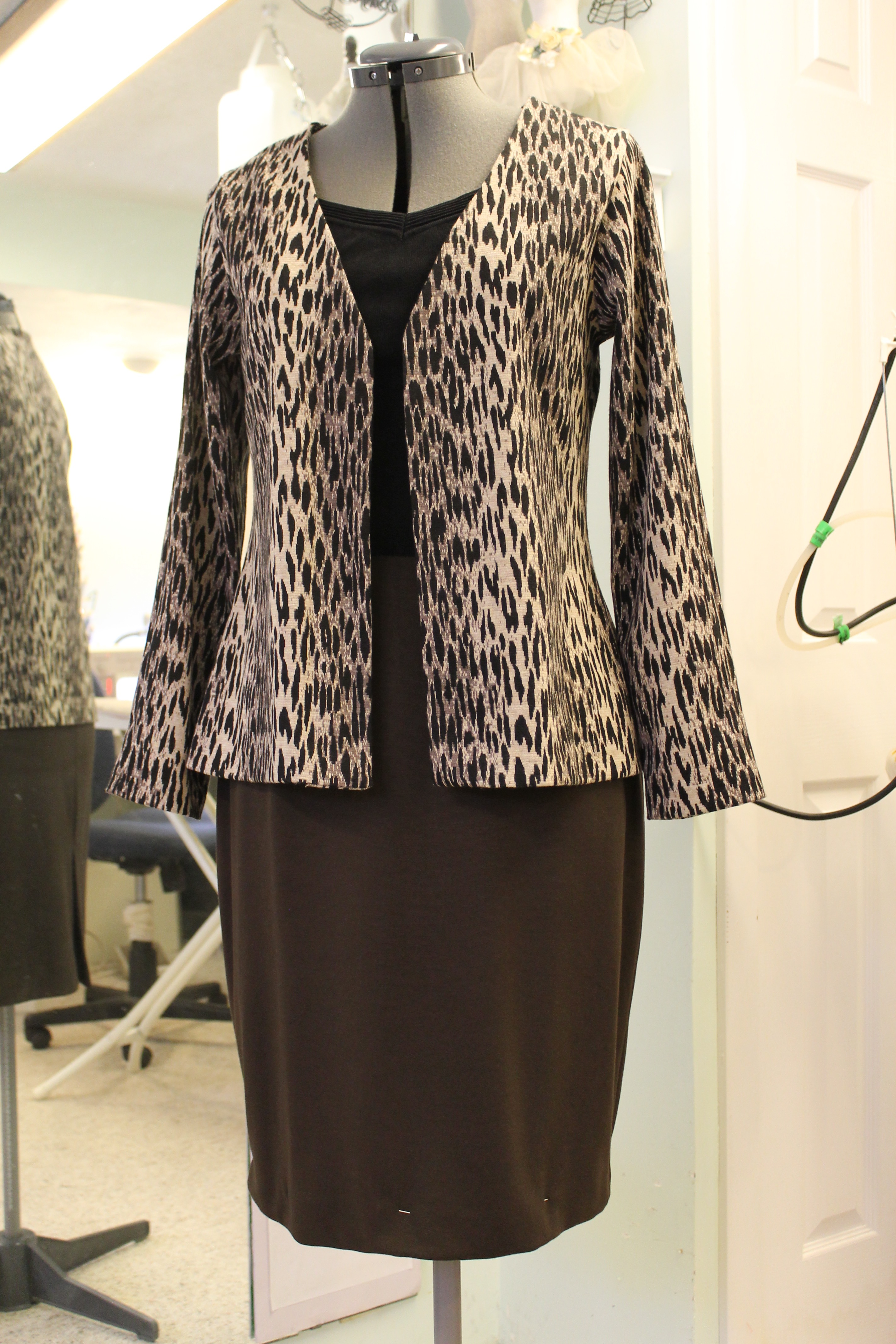 Career knit cardigan and skirt