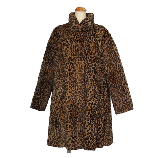 エンバ 毛皮 ファー コート ファーシャトン 豹柄 スタンドカラー フリーサイズ EMBA