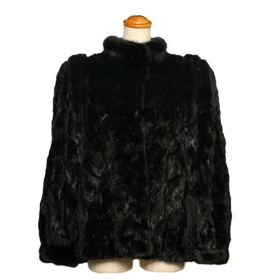 エンバ 毛皮 ファー コート ショート ミンク ブラック レディース EMBA