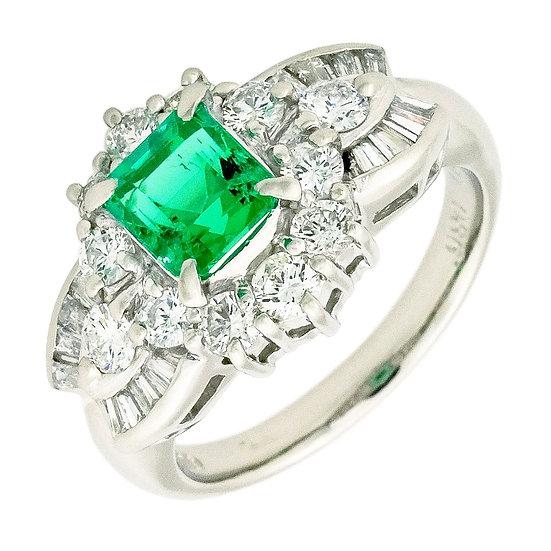 指輪 リング エメラルド 0.972ct ダイヤ 0.86ct プラチナ Pt900