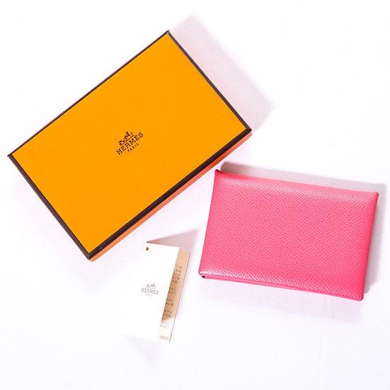 HERMESカードケース カルヴィ ピンク系 / SILVER金具