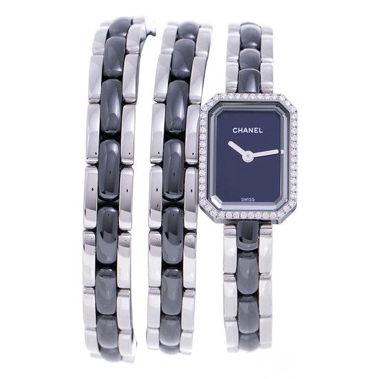 シャネル 時計 レディース プルミエール トリプルブレスレット H3058 ダイヤベゼル シルバー×ブラック CHANEL