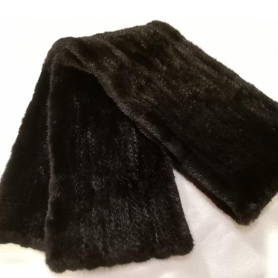ファー マフラー ショール 推定ミンク ファーヤーン 毛皮編み込み