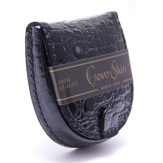 小銭入れ コインケース 牛革 カウスキン 手縫い 馬蹄型 腹クロコ型押 ブラック 日本製
