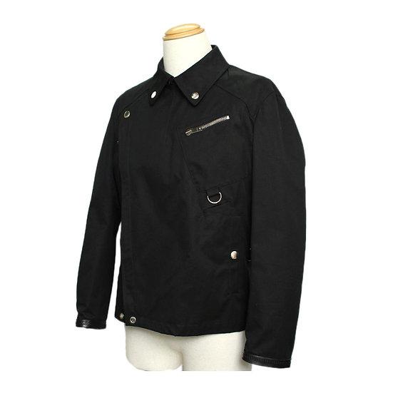 グッチ メンズ ジャケット ライダース コットン×レザー ブラック サイズ54 GUCCI