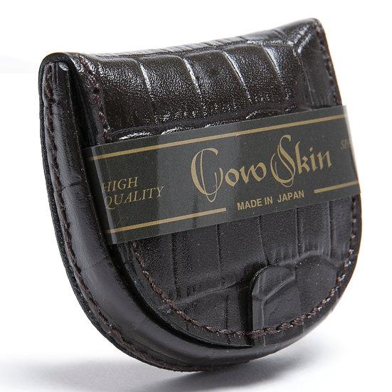 小銭入れ コインケース 牛革 カウスキン 手縫い 馬蹄型 クロコ型押 チョコ 日本製
