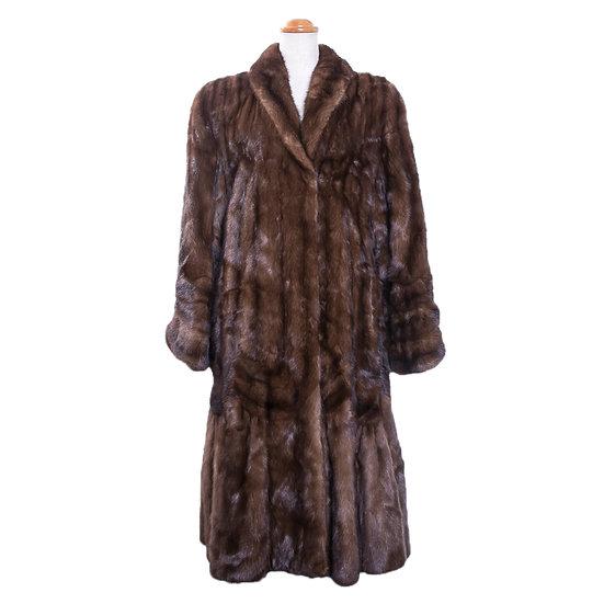コート レディース 毛皮 サガミンク ロイヤル ロング 裾切替え ブラウン