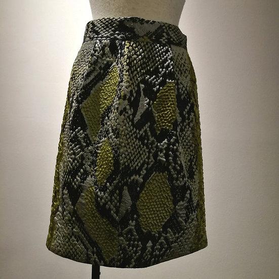グッチ スカート パイソン柄 320652 グリーン系×黒
