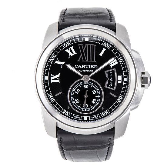 カルティエ 時計 メンズ カリブル・ドゥ・カルティエ W7100041 SS 革ベルト新品 自動巻 コンプリート済 Cartier