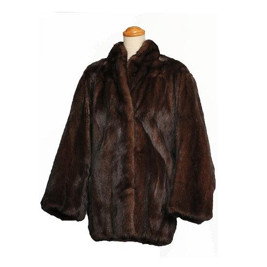 【期間限定大幅値下】毛皮 コート レディース ショート ミンク ドルマンスリーブ ブラウン 15号 和装にも