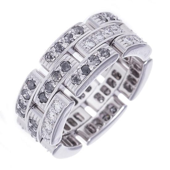 カルティエ 指輪 リング マイヨンパンテール フルダイヤモンド ファンシーグレイ 可動チェーン K18WG Cartier