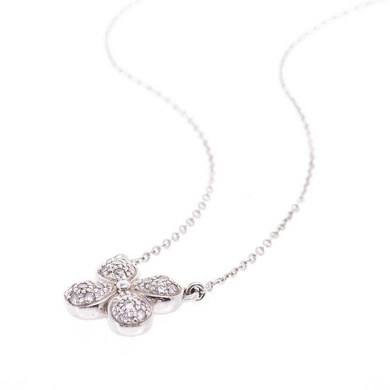 ネックレス ペンダント ダイヤモンド パヴェ K18WG 四つ葉 クローバー ラッキーチャーム