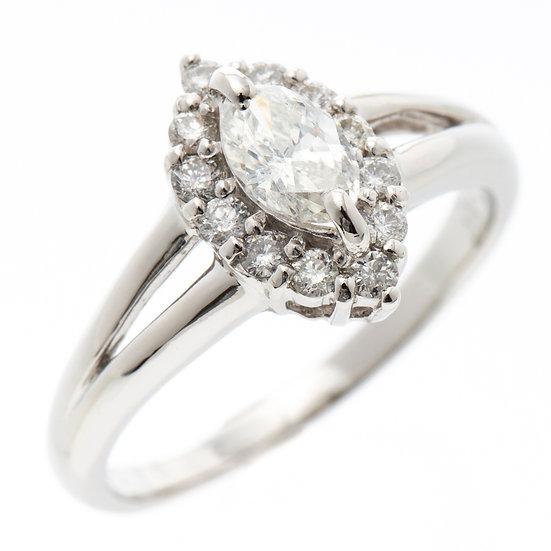 指輪 リング ダイヤ マーキスカット D0.359 プラチナ Pt900 (H SI-2)