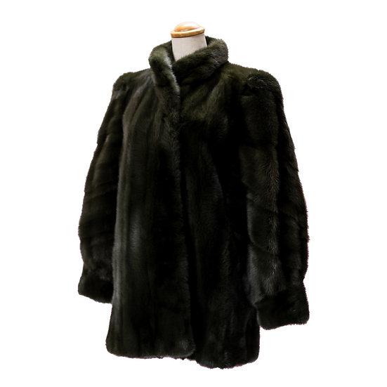 毛皮 コート ハーフ サガミンク SAGA レディース グリーン系 サイズ11